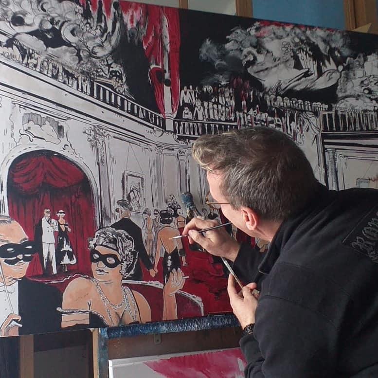 Wilko at work in hi comicart project